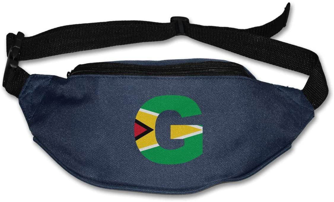 SWEET-YZ Unisex Waist Pack G Letter Guyana Flag Flat Fanny Bag Pack for Sport Running