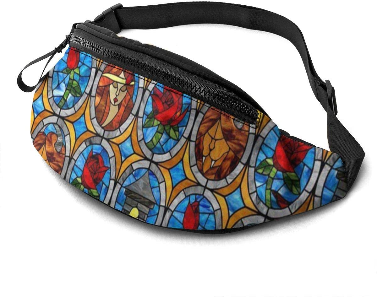 Beauty And Beast Fairytale Glass Fanny Pack For Men Women Waist Pack Bag With Headphone Jack And Zipper Pockets Adjustable Straps