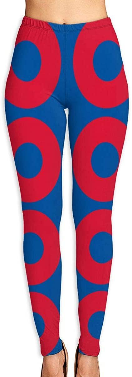 Phish Red Donut Circles On Blue Women's 3D Digital Print High Wait Leggings Yoga Workout Pants