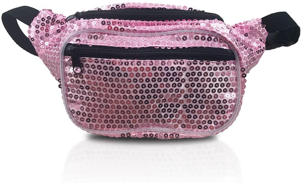Fanny Pack, Sequin Design, Pink Mermaid Waist Bag, For Women Men Kids (Sequin Pink)