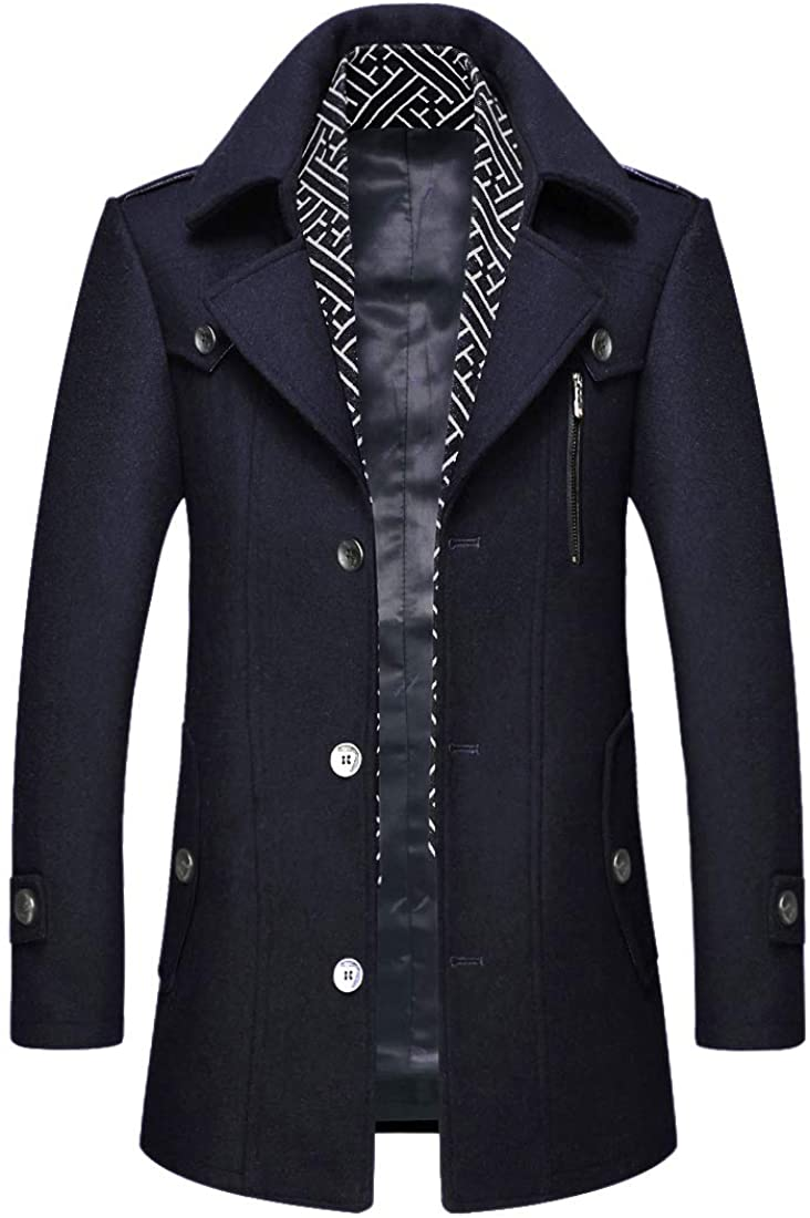 ZHPUAT Men's Wool Coat Thermal Pea Coat Winter Trench Coat with Single/Double Breasted Blackblue01 Medium