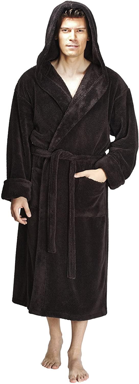 Arus Men's Hooded Fleece Bathrobe Turkish Soft Plush Robe