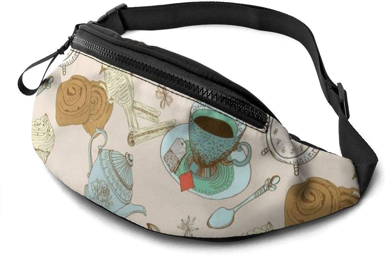 Tea Time Fanny Pack For Men Women Waist Pack Bag With Headphone Jack And Zipper Pockets Adjustable Straps