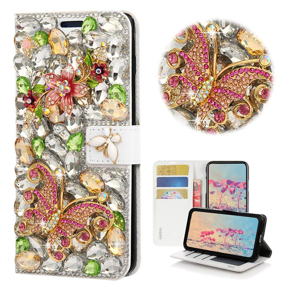 STENES Bling Wallet Case Compatible with Google Pixel - STYLISH - 3D Handmade Crystal Flowers Floral Butterfly Magnetic Wallet Design Leather Cover Case - Green