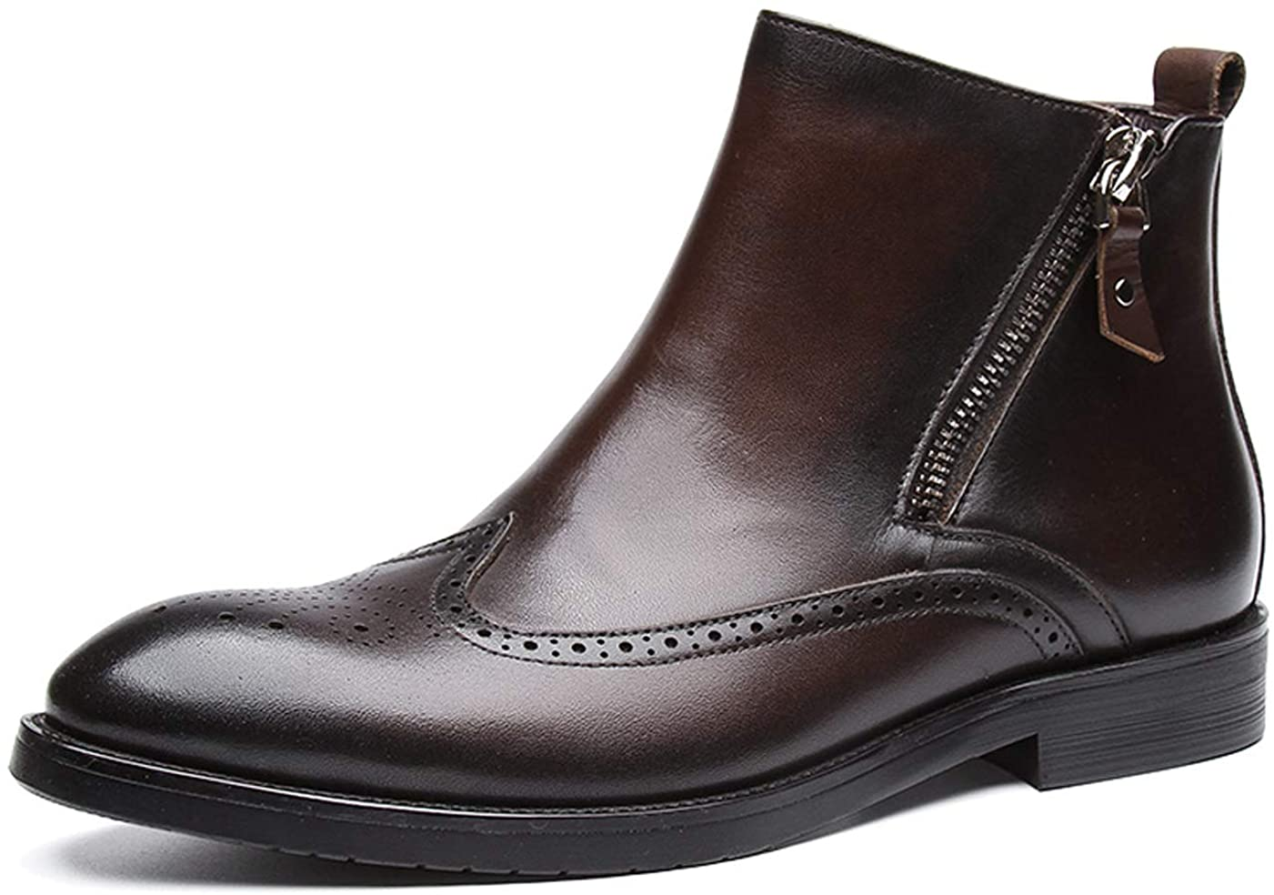 Santimon Mens Chelsea Zip Boots Leather Silp on Brogue Dress Boots for Men Black Brown