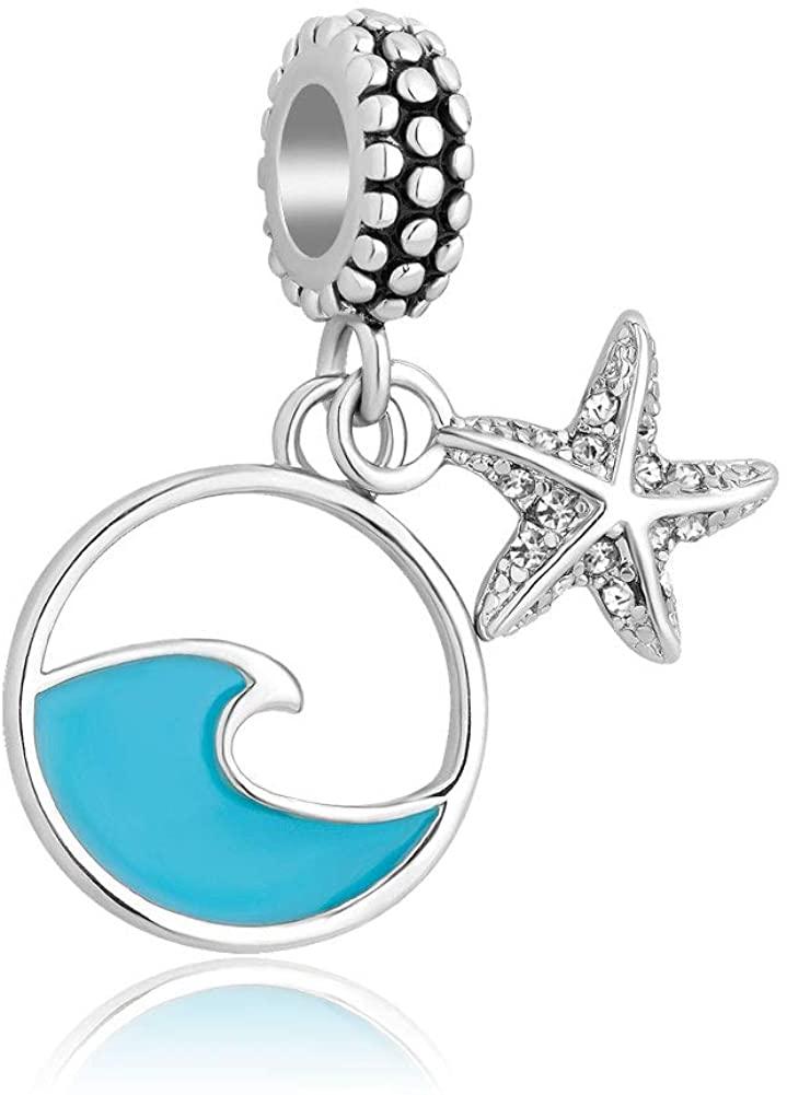 Cherris Wave Starfish Charms Dangle Holiday Beach Beads for Snake Chain Bracelets