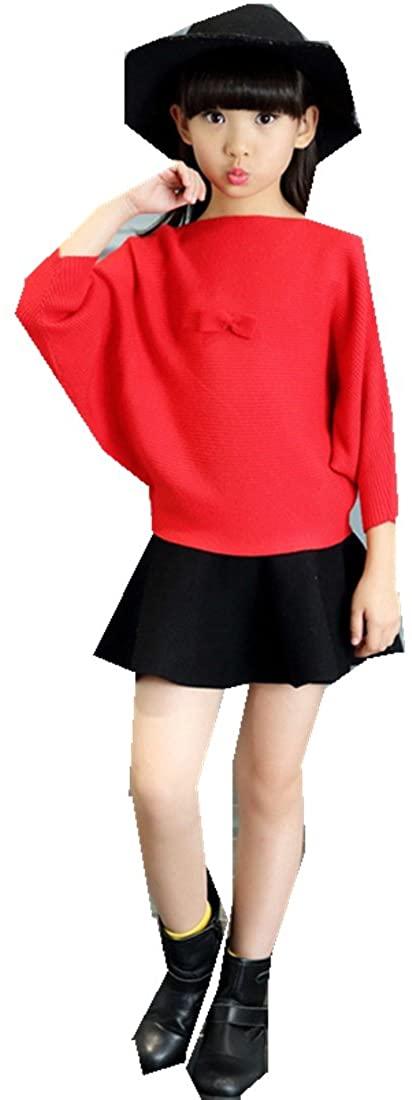 MV Girls Children Winter Sweater Skirt Two Piece Princess Wind Skirt Suit