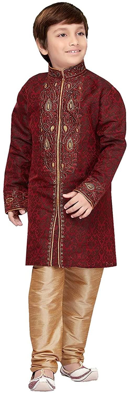Indian Fashion Readymade Stylish Traditional Marron Jaquard Kids Kurta Pajama R-1734