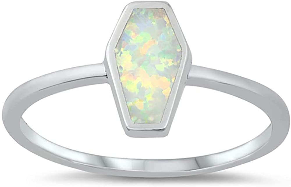 CLOSEOUT WAREHOUSE Blue Simulated Opal Coffin Shape Ring Sterling Silver