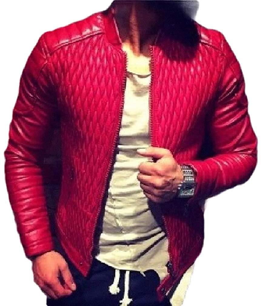 Xudcufyhu Men's Stand Collar Slim Fit Zipper Faux Leather Overcoat Moto Biker Jacket