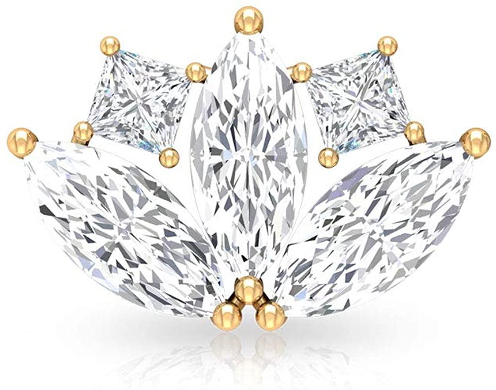 0.54Carat Leaf Marquise Diamond IGI Certified Diamond Stud Earring, IJ-SI Princess Diamond Cluster Lotus Petal Stud, Cartilage Tragus Birthday Earring, Screw Back