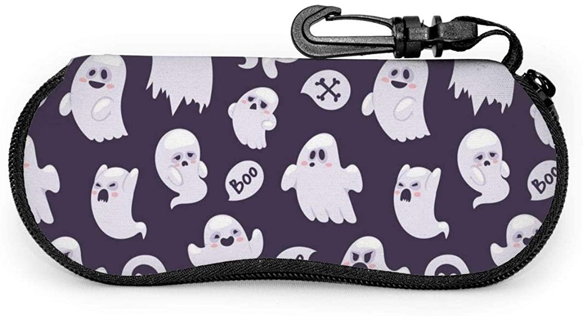 Boo Ghost Hunting Soft Sunglasses Case, Ultra Light Neoprene Portable Travel Slip In Eyeglasses Bag, Zipper Sunglasses Holder With Clip