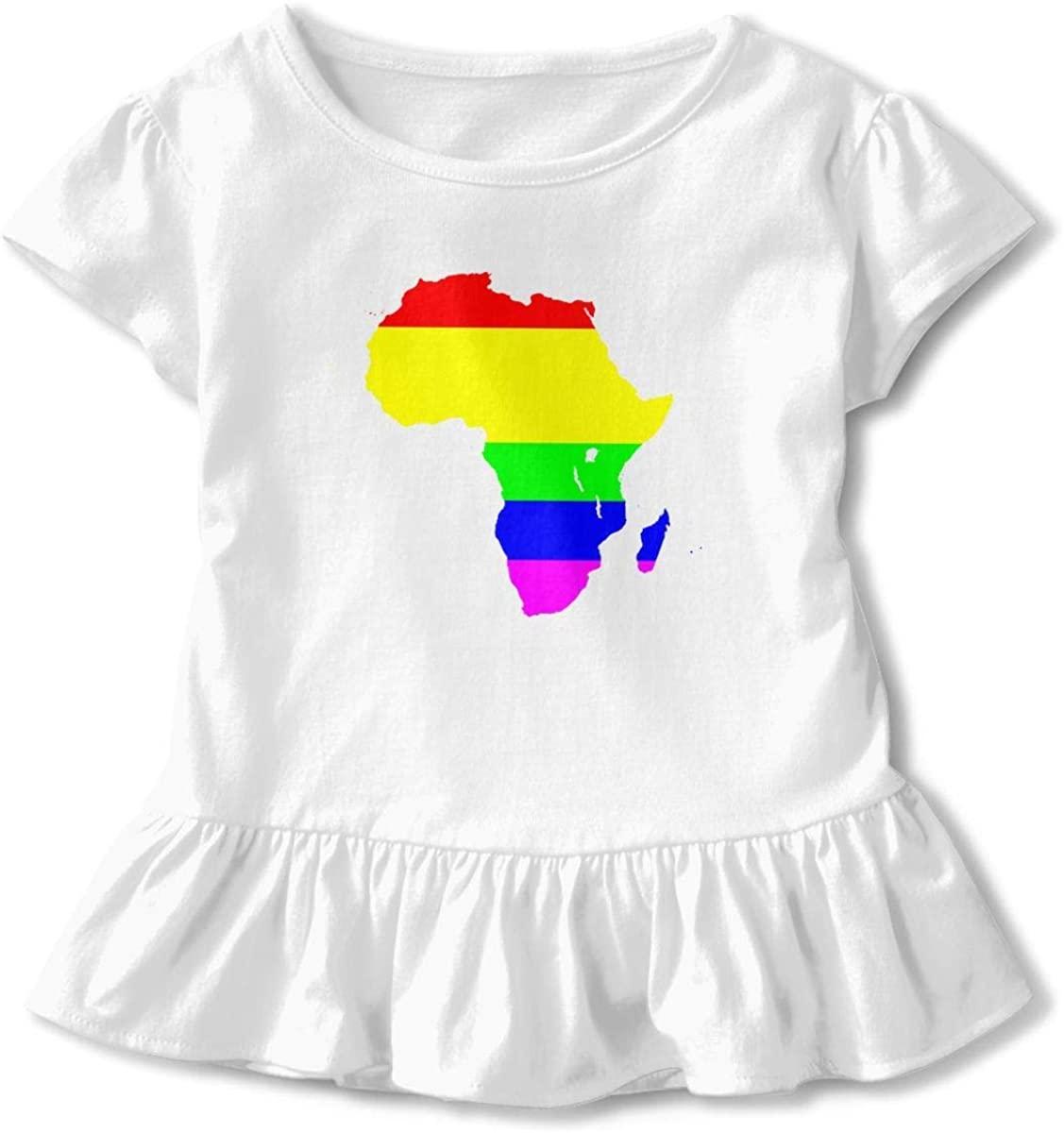 SDHEIJKY Toddler Girls' Africa Short Sleeve Dress Ruffle Basic Tee