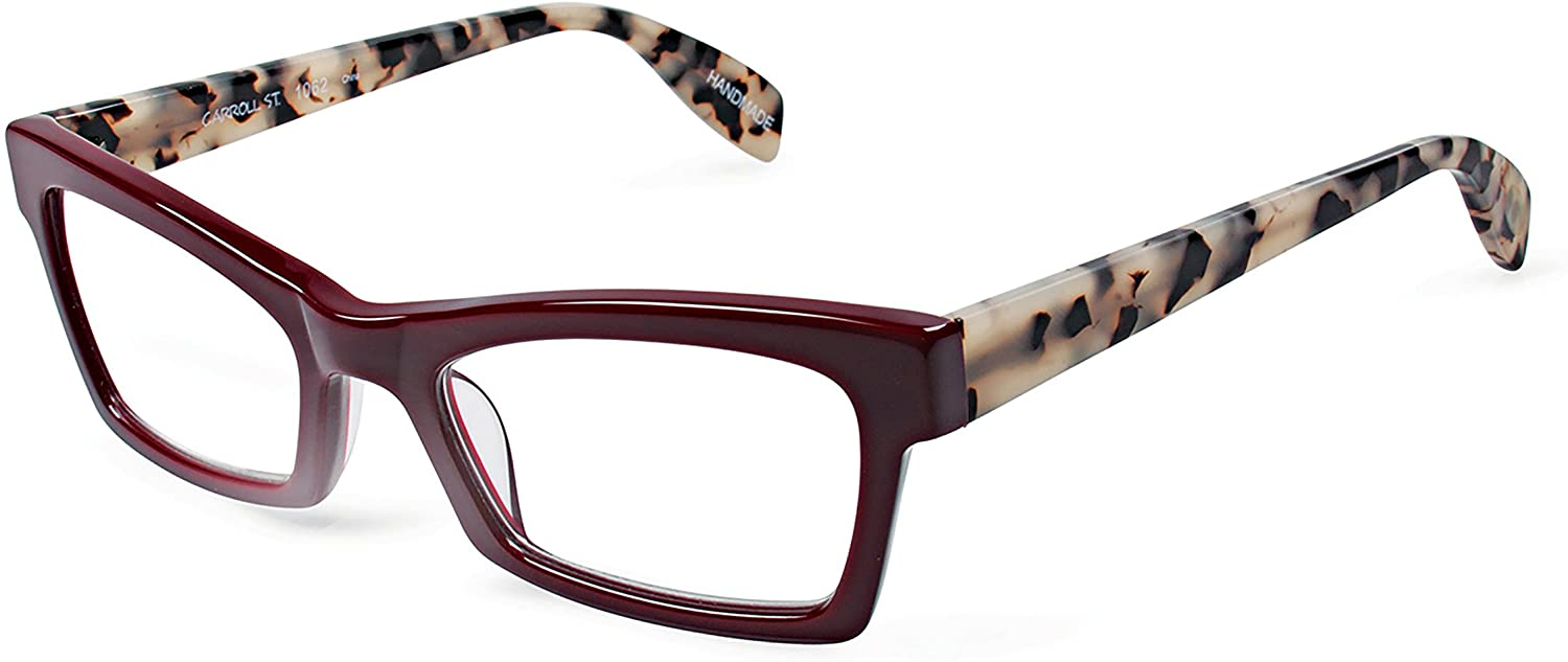Scojo New York Carroll Street Reading Glasses, Burgundy/Vanilla Twilight, 1.00 Magnification