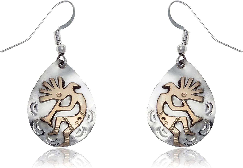 $200Tag 12ktGF Silver Kokopelli Certified Navajo Dangle Native Earrings 24466 Made By Loma Siiva