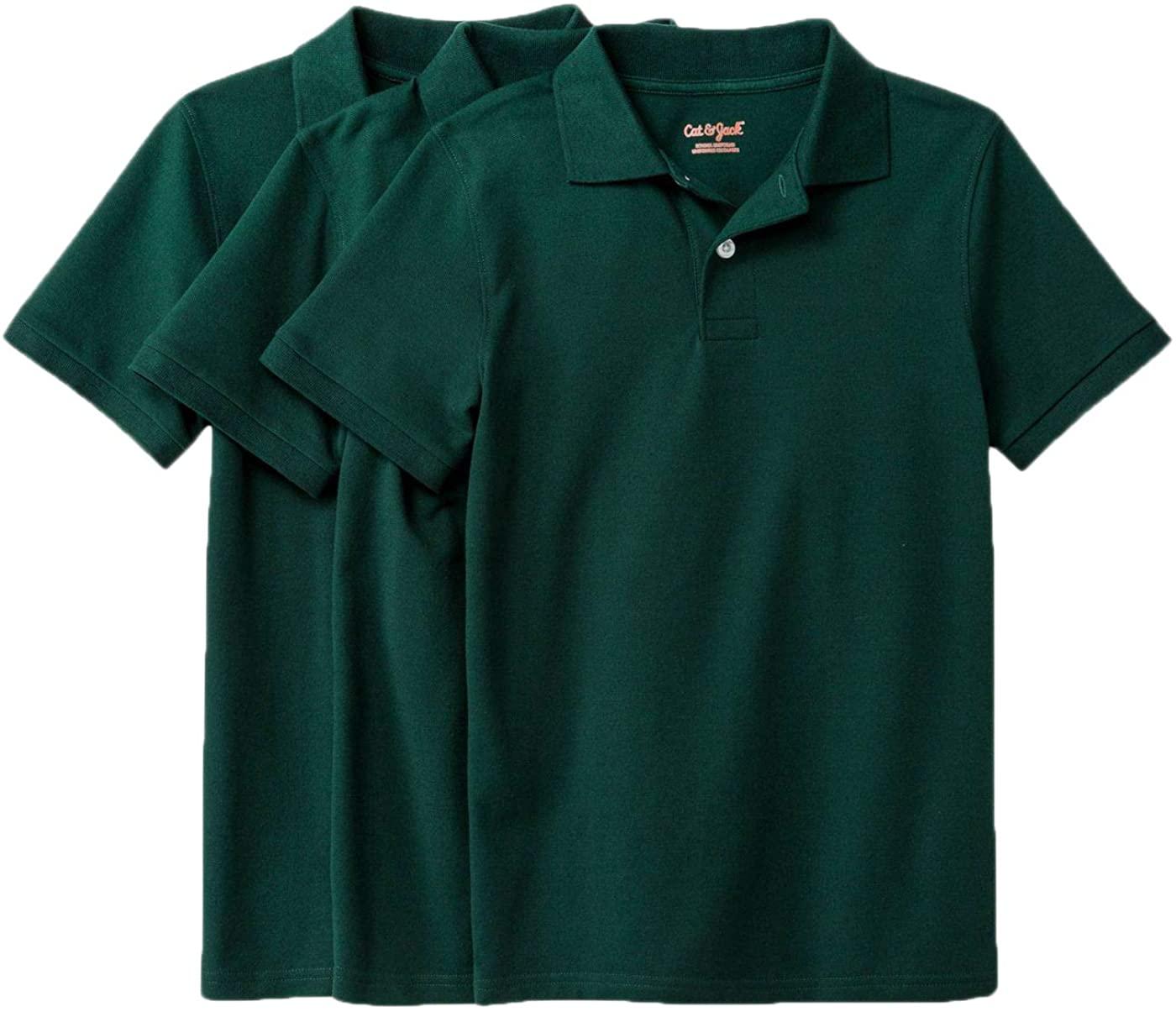 Cat & Jack Boys' Short Sleeve Pique Uniform Polo Shirt