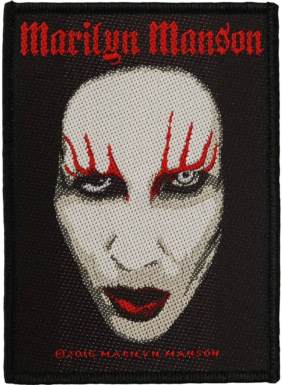 Marilyn Manson Men's Face Woven Patch Black