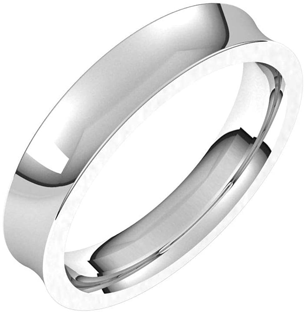 Tarnish Resistant Solid 925 Sterling Silver 4mm Concave Comfort Fit Wedding Band Size 8.5