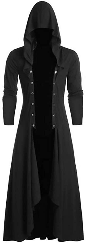 djdjdj Men's Coats Winter Polyester Men's Retro Steam Punk Gothic Wind Cloak Coat Fashiona Plain Cap Cardigan Coat
