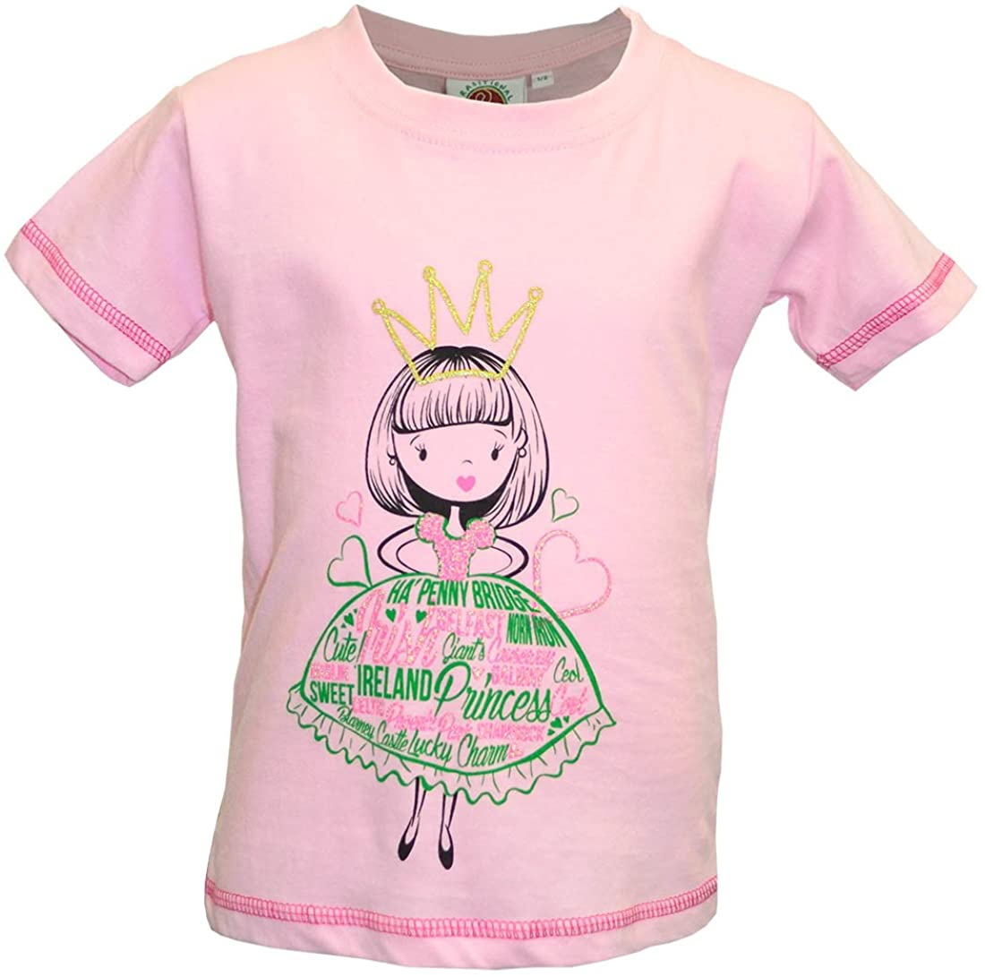 Pink Princess T-Shirt with Ireland Cities & Icons Text, Love Hearts Design