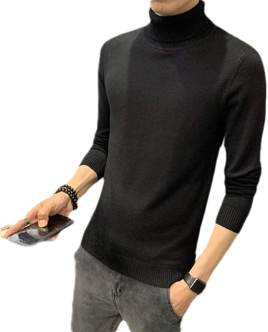 CRYYU Mens Fashion High Neck Knitwear Slim Fit Long Sleeve Pullover Sweater