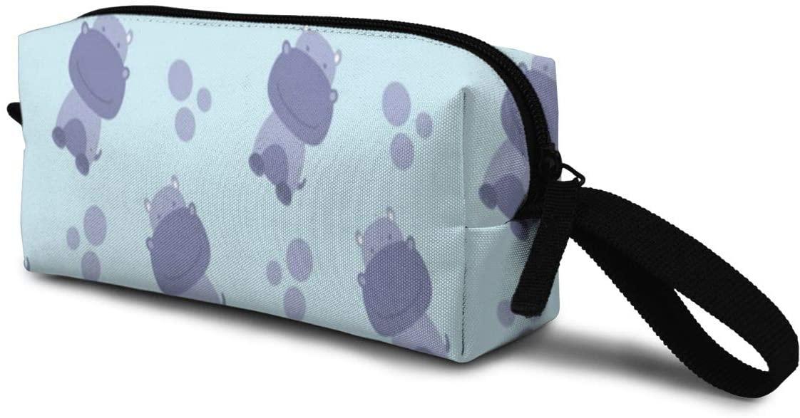 T-JH Hippo Spot Mini Makeup Bag,Portable Cosmetic Bag,Organizer,Toiletry Handbag,Medicine Bag,Storage Pouch for Women Purse