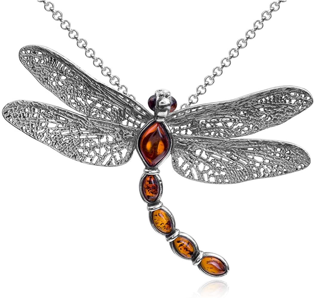 Amber Sterling Silver Dragonfly Pendant Necklace Chain 18