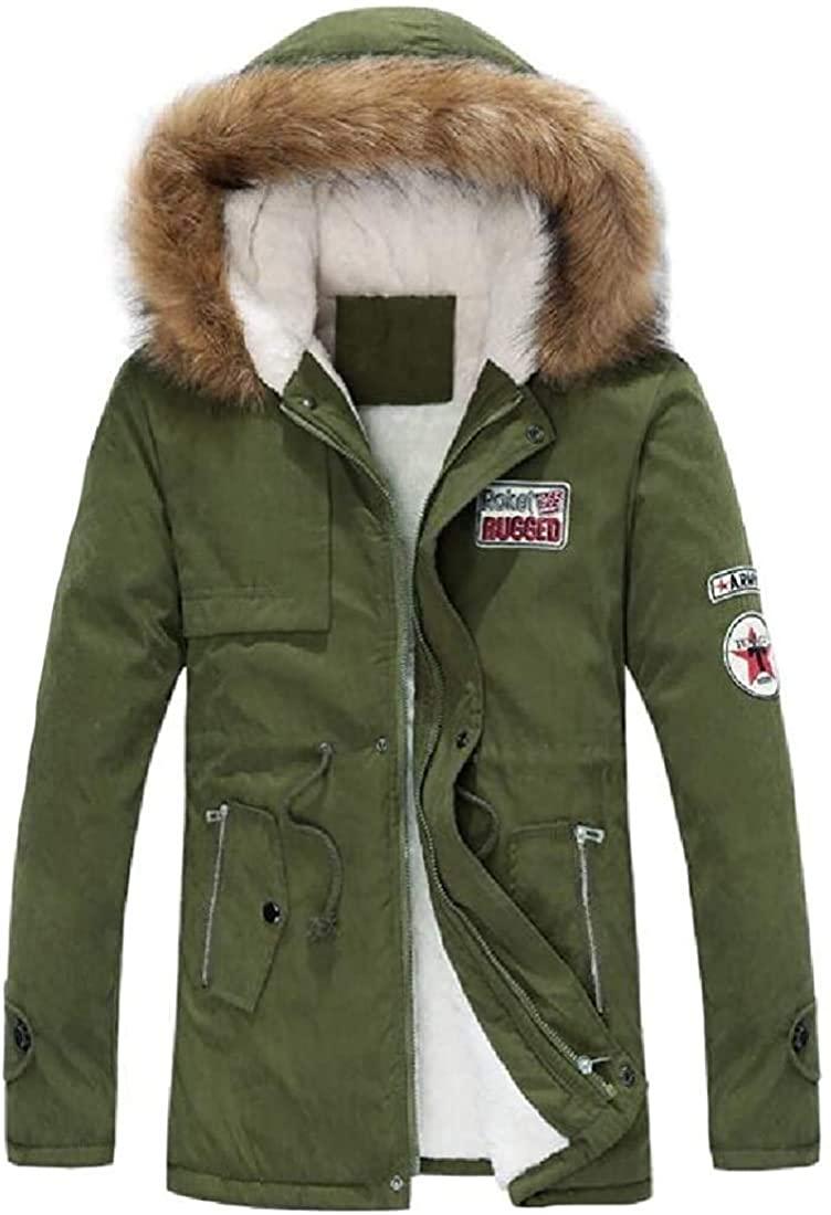 Fnbdyfjdsf Men Winter Long Sleeve Snow Coat Fur Hooded Thicken Parka Puffer Jacket