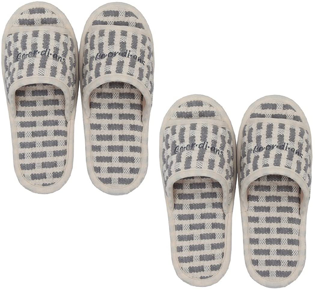 Non Slip Indoor Slippers (2 Pairs) | 100% Cotton, Washable | Light and Soft, Open Toe & Unisex | Made in Korea (Checkered Grey)