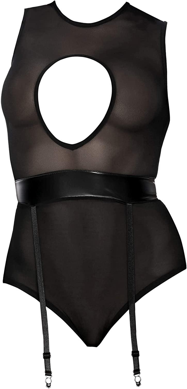 Forplay Women's Sheer Cutout Bodysuit W/Faux Leather Garter Belt Contrast