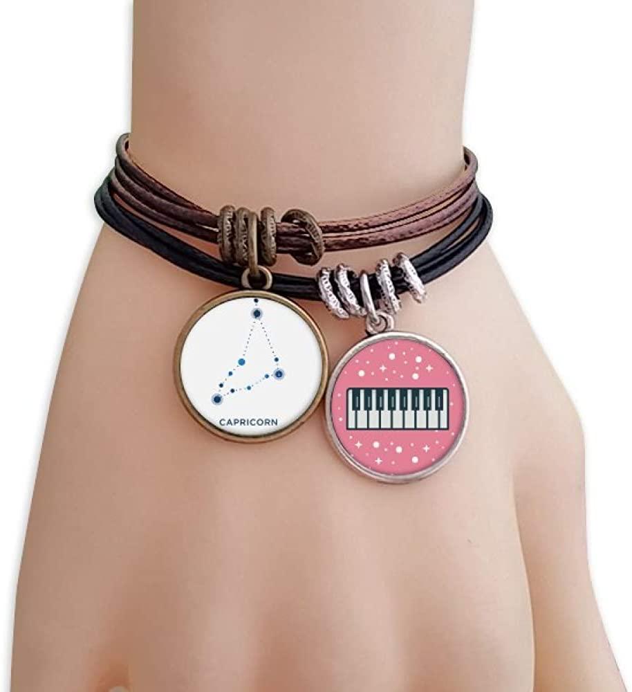 cold master DIY lab Capricorn Constellation Sign Zodiac Bracelet Rope Wristband Piano Key Music Charm