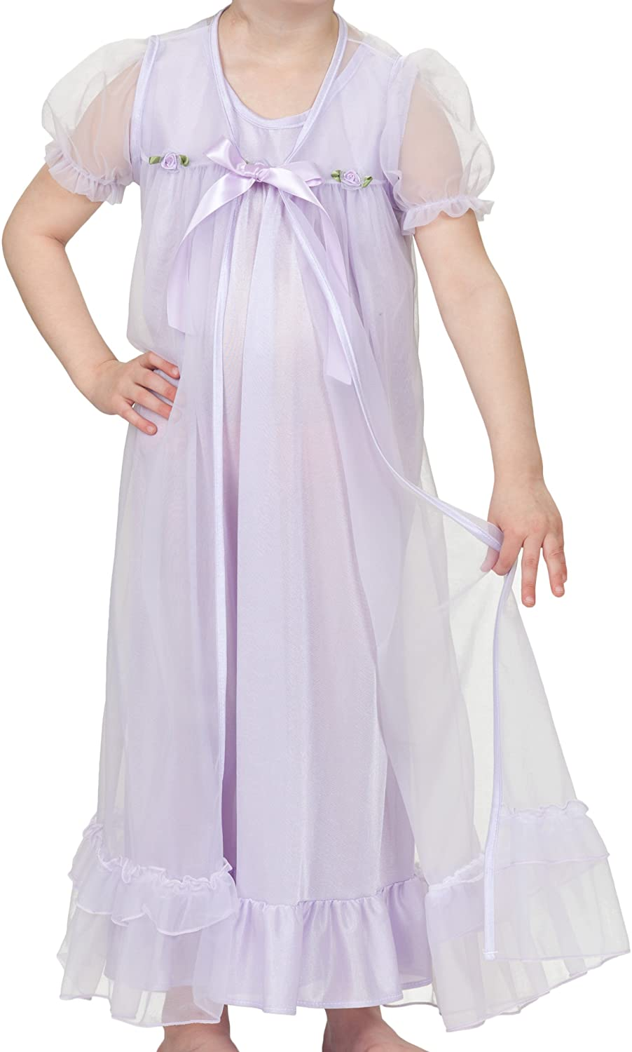 Laura Dare Big Girls Short Sleeve Peignoir Nightgown Robe Set w Scrunchie, 7-14