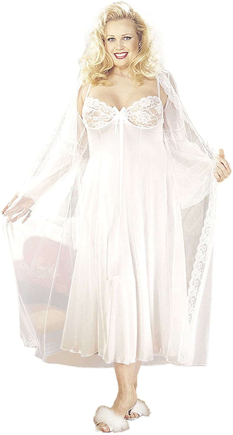 Plus Size Sexy Long Gown Peignoir Set Lingerie