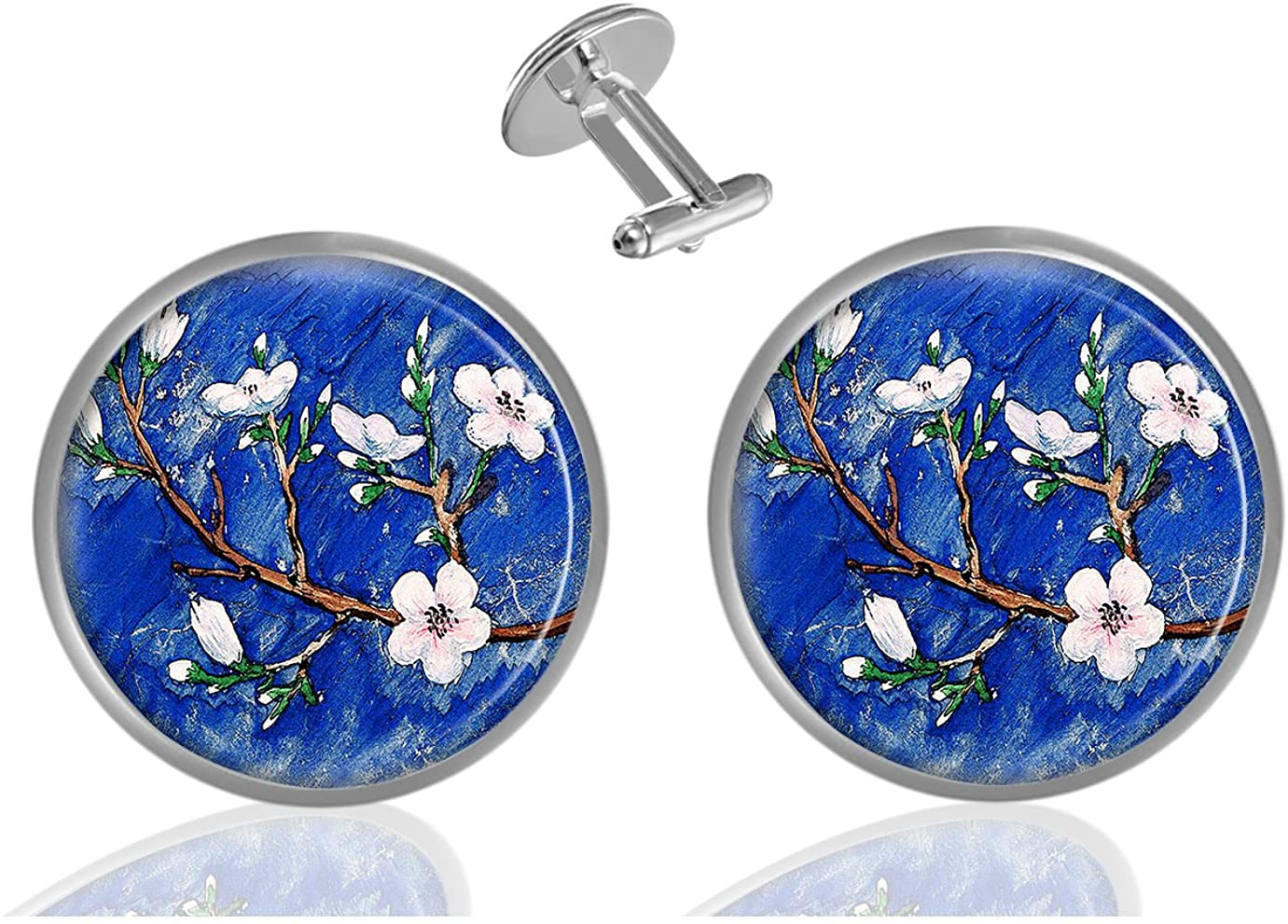 ecowcow Cherry Blossoms Custom Classic Jewelry Tuxedo Shirt Cufflinks Men's Unique Business Wedding Gifts