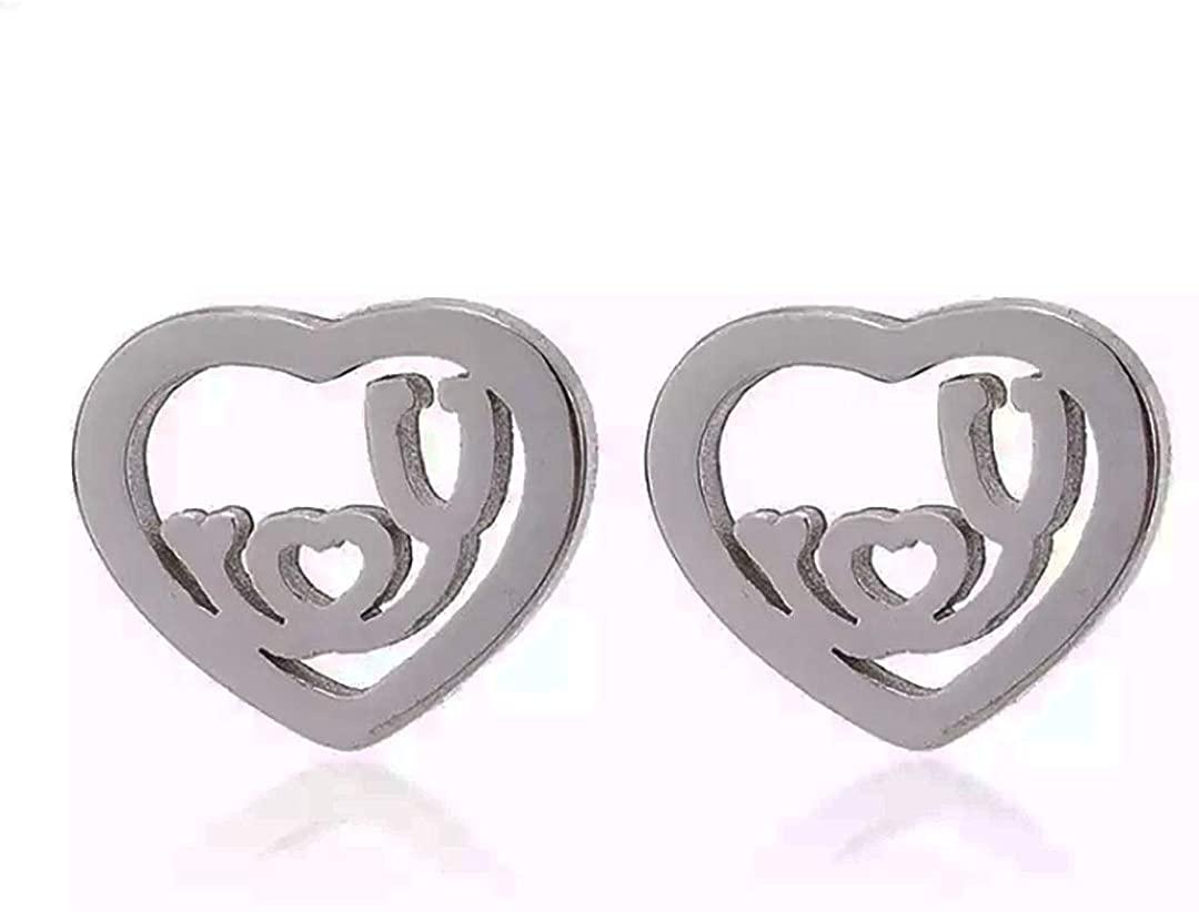 Mens Emergency Medical Heart Shape Earrings for Women Stethoscope EMT First Responders Nurse DR Doctor LVN LPN RN Men Unisex Gifts Present Silver