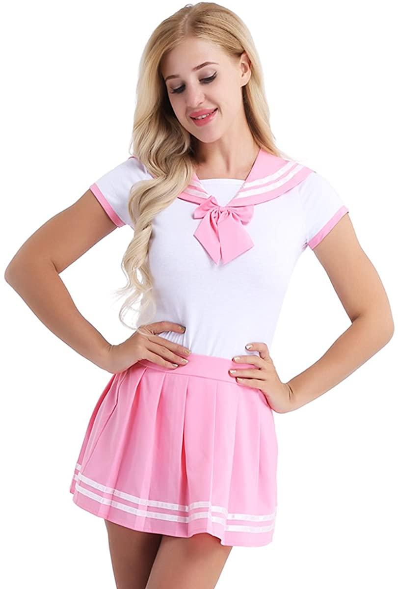 Hularka Womens Schoolgirls Cosplay Uniform Costumes Button Crotch Romper with Pleated Mini Skirts