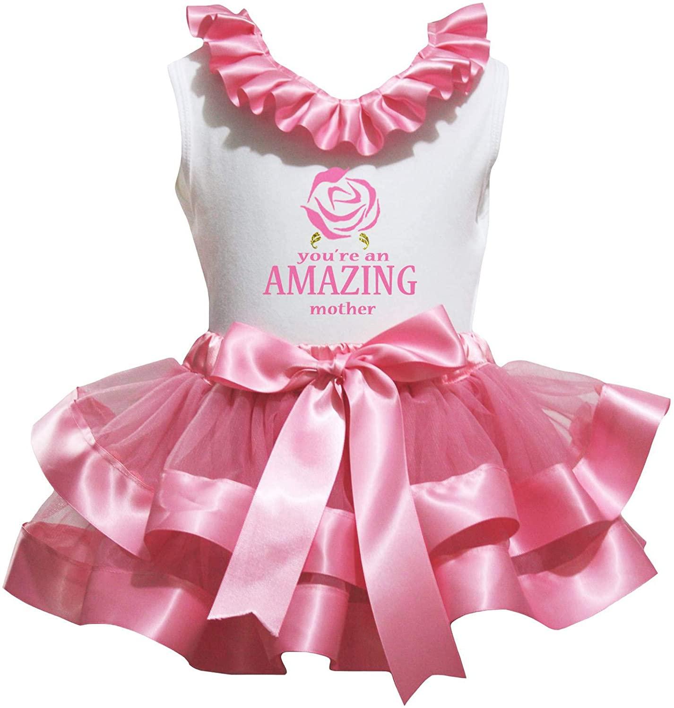 Petitebella You're an Amazing Mother White Shirt Petal Skirt Set Nb-8y