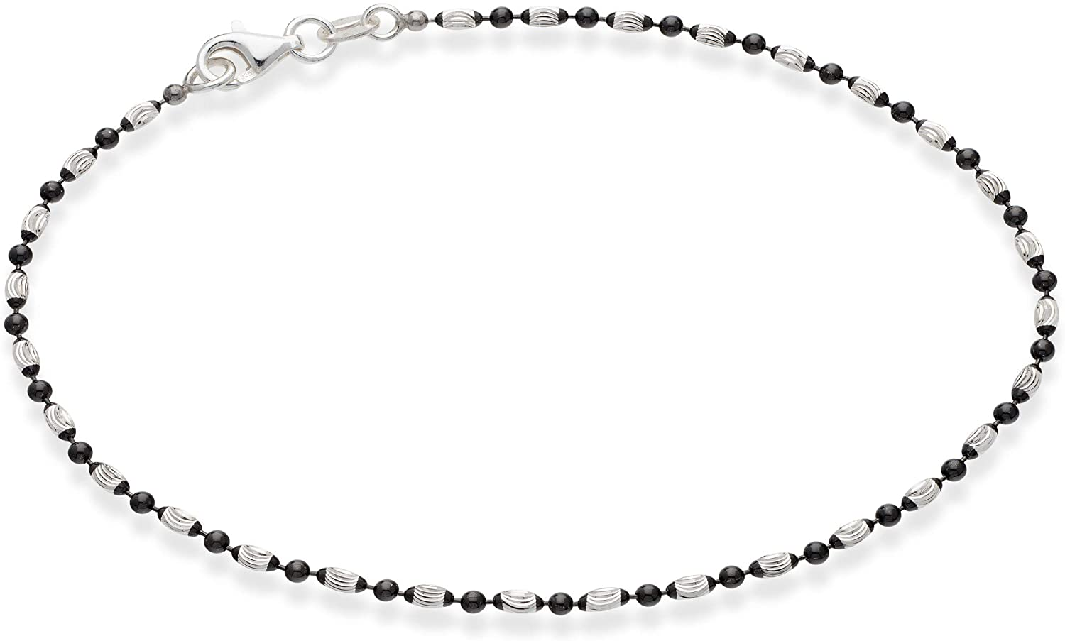 Miabella 925 Sterling Silver Diamond-Cut Oval and Round Bead Ball Chain Anklet Ankle Bracelet for Women Teen Girls, 9, 10 Inch Made in Italy