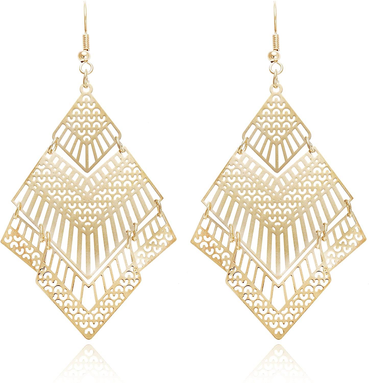 Boho Geometric Filigree Rhombus Shape Tiered Dangle Drop Statement Earrings