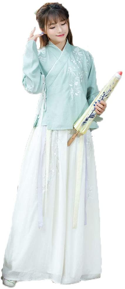 YCWY Traditional Chinese Hanfu, Vintage Embroidered Chinese Dress Light Green Photo Shoot Clothing Cosplay Chinese Princess Costumes Flower Printing 4 Suits,M