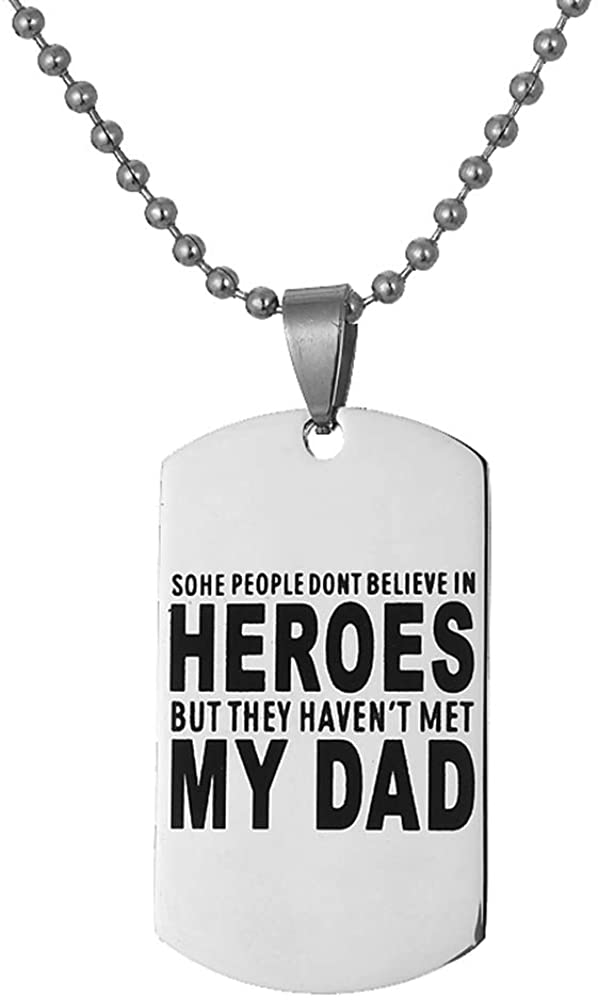 LOORDON Stainless Steel Plain Dog Tag Necklace You are My Hero for Father Dad with 24'' Extender Chain