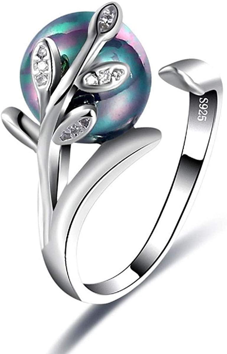 Indian Handicrafts Export Sansar India Tree Leaf Pearl Zircon Crystal Free Size Adjustable Ring for Girls Women