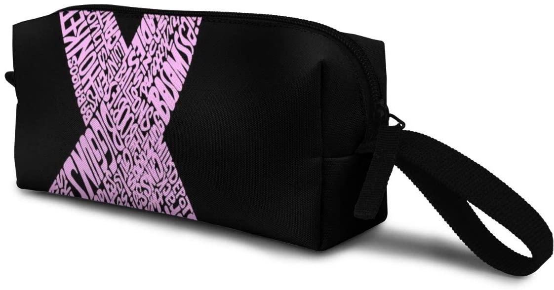 T-JH Word Art Pink Ribbon Mini Makeup Bag,Portable Cosmetic Bag,Organizer,Toiletry Handbag,Receive Bag,Storage Pouch for Women Purse