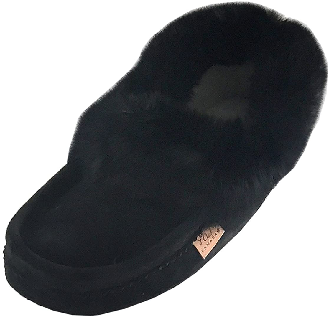 Laurentian Chief Mens Suede with Rabbit Fur Collar Soft Sole Moccasin Slippers Black