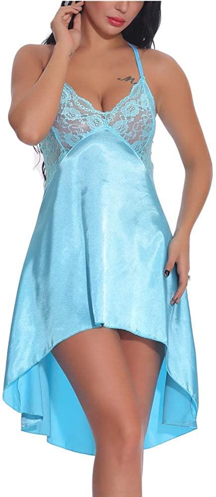 N/D Women Sexy High Waist Evening Dress Dress Dress Sundress Mini Dress with Mesh Club Costume Skirt Blue
