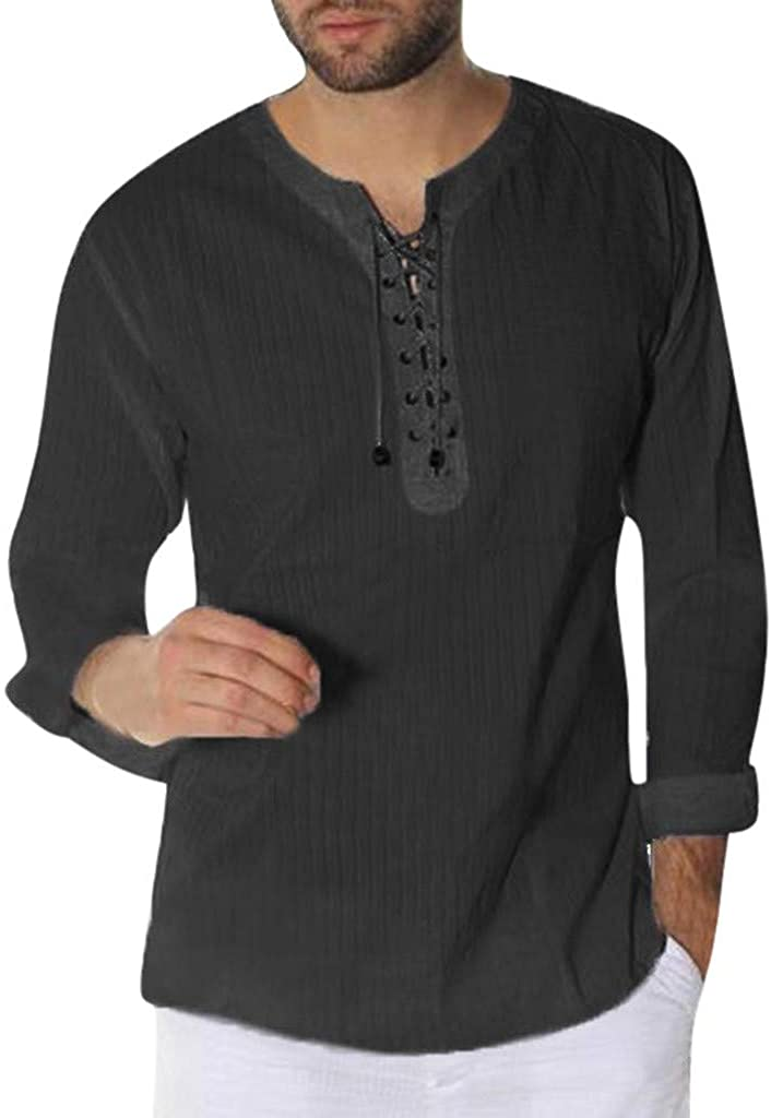 Mens Casual Classic Comfort Slim Fit Basic Henley Long Sleeve Stripe T-Shirt