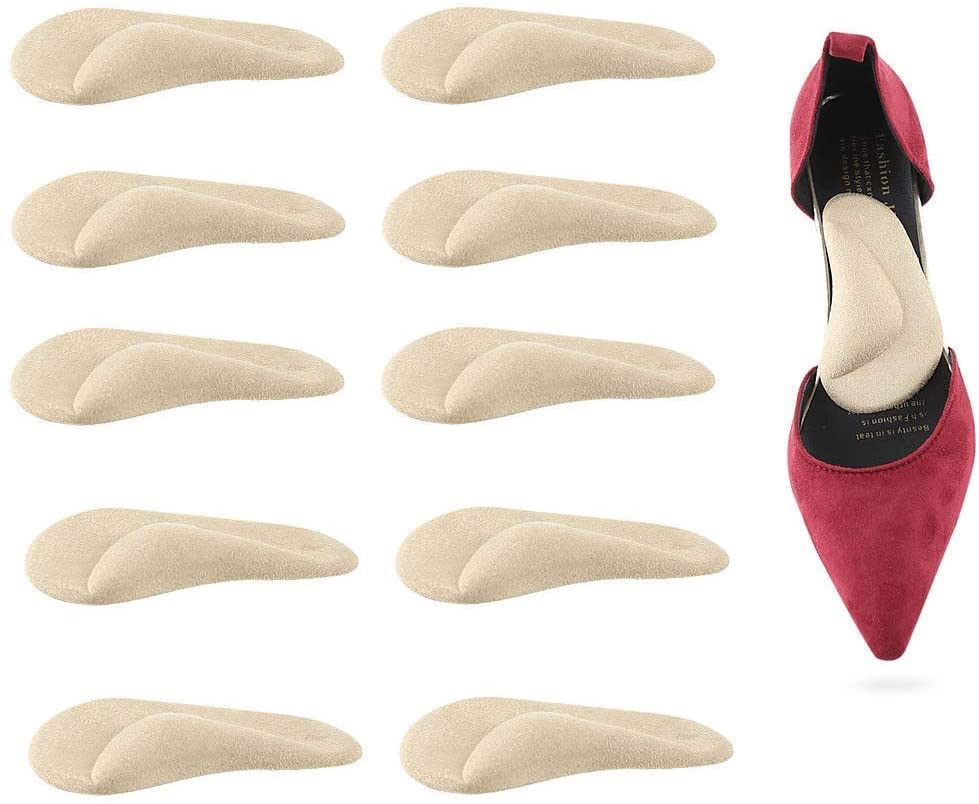 Nutteri 5 Pairs Arch Support,Soft Gel Insole Pads,High Heel Inserts Reusable Arch Cushions Best for Plantar Fasciitis and Flat Feet,Arch Pain Relief, for Men and Women (Nude)