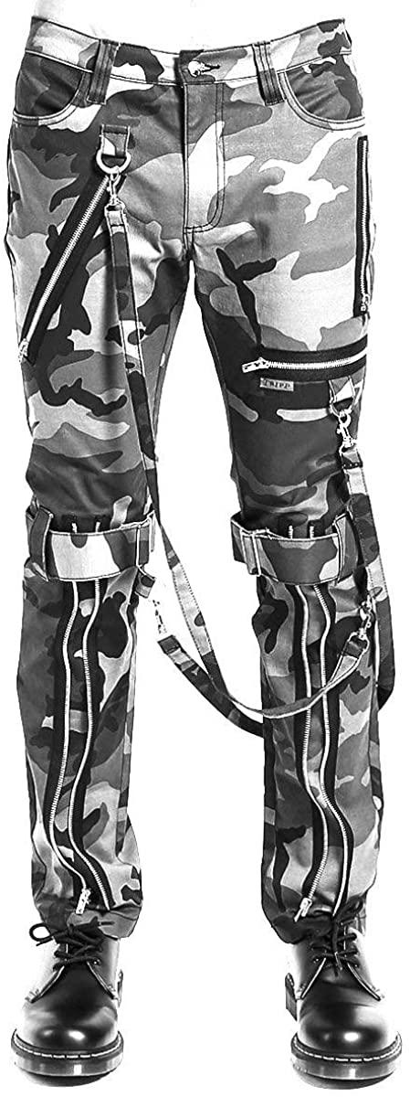 Tripp NYC Gray Camouflage Straight-Leg Bondage Pants