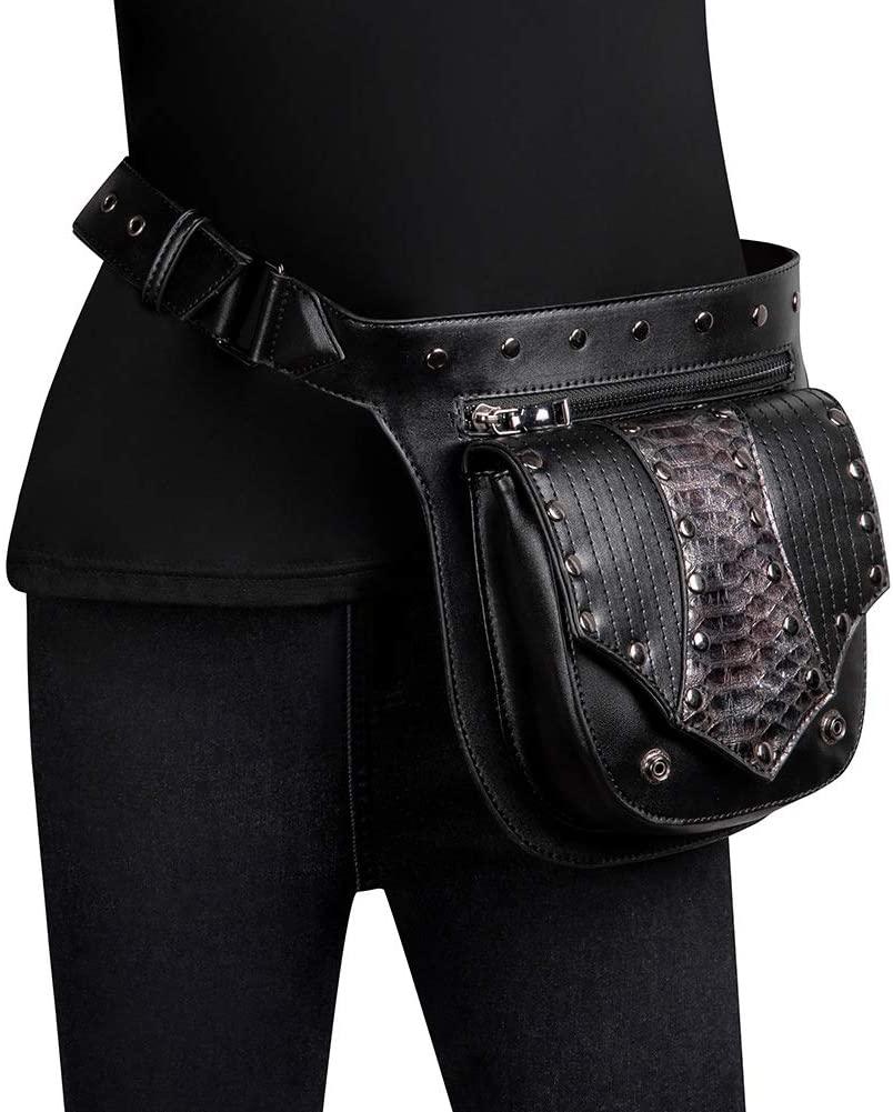 XIONGG Gothic Waist Bags Punk Leather Fanny Pack for Men Women Bags Retro Rock Drop Leg Bag