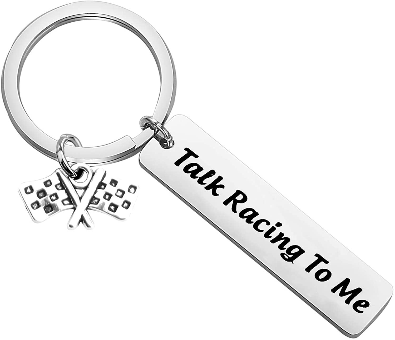 CENWA Race Day Gift Street Racing Gift Talk Racing to Me Keychain Checkered Flag Jewelry Car Racing Gift Drag Racing Gift